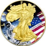 USA APOLLO-11 MOON LANDING FIRST WALK ON THE MOON American Silver Eagle 2019 Walking Liberty $1 Silver coin Gold plated 1 oz